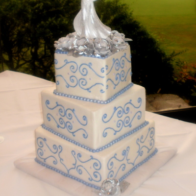 Periwinkle Scroll Cake