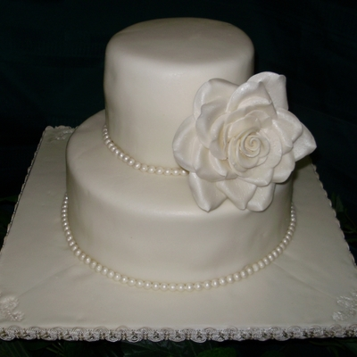 Ivory With Pearls And Large Rose