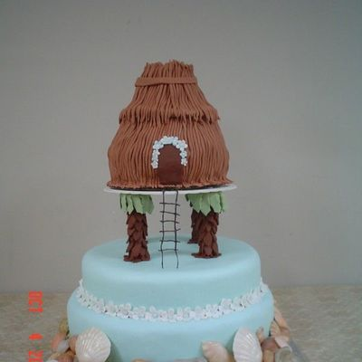 Tiki Hut Wedding Shower Cake