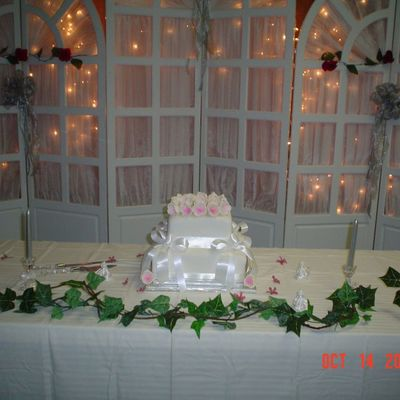 Square Fondant Covered Wedding Cake