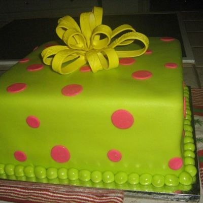 Neon Birthday Cake With Bow on Cake Central