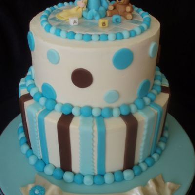 Baby Boy Shower Cake With Spots And Stripes on Cake Central