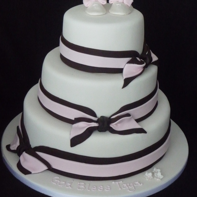 White, Pink And Brown Christening Cake For Taya