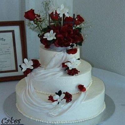 Fondant Draped Wedding Cake With Gumpaste Red Roses And Orchids on Cake Central
