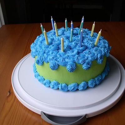 Lime Green With Blue Rosettes on Cake Central