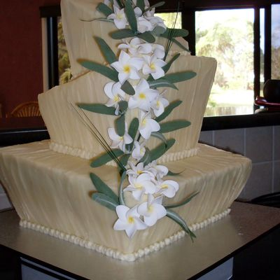 Square Topsie Turvie Chocolate Wedding Cake