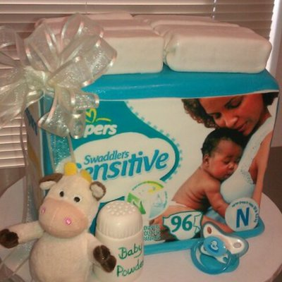 Box Of Diapers Baby Shower Cake