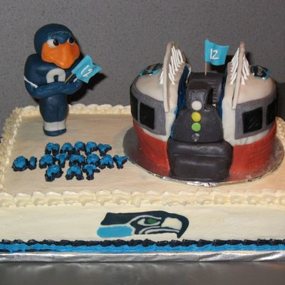Seattle Seahawks Fan Birthday Cake