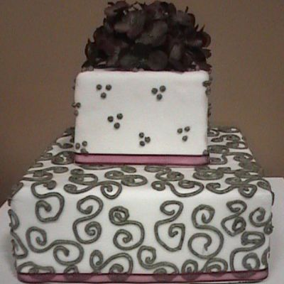 Burgundy And Mossy Green Square Wedding Cake on Cake Central