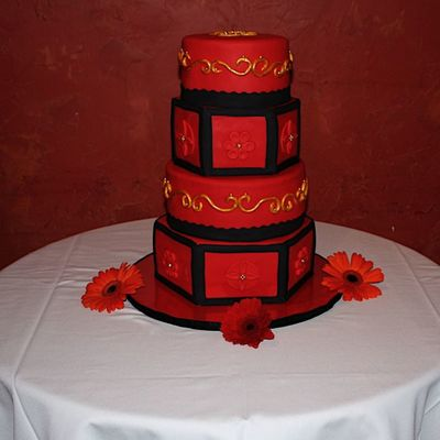 Red, Black & Gold Wedding Cake