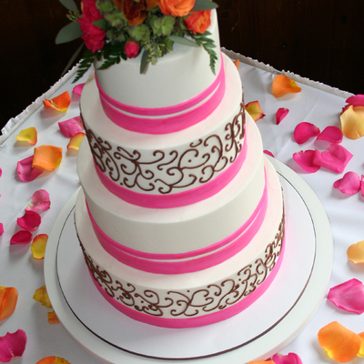 Passion Pink Ribbon Wedding Cake