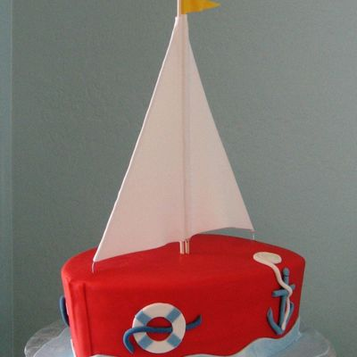 Sail Boat Baby Shower Cake