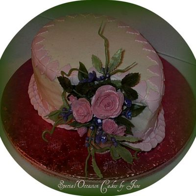 Rose Spray Anniversary/birthday Cake