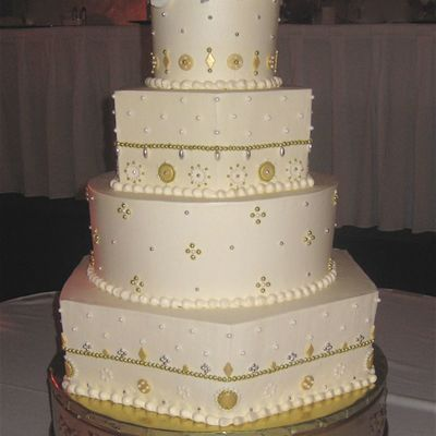 Gold And Silver Dragee Wedding Cake