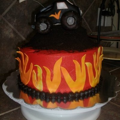 Monster Truck And Flames Cake