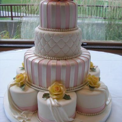 Pink/white Stripes/yellow Roses on Cake Central