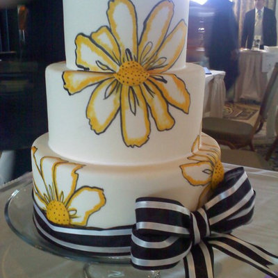 Hand Painted Yellow Cake
