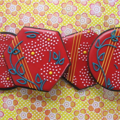Red Lacquer Chinese Floral Cookies