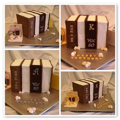50 & 60Th Library Books Dual Cake