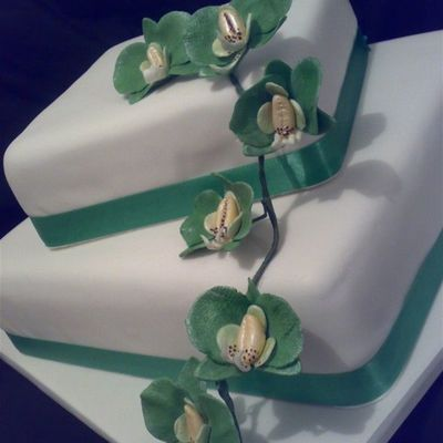 Green & White Orchid Engagement Cake on Cake Central
