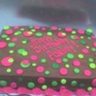Chocolate With Neon Green, Hot Pink Dots on Cake Central