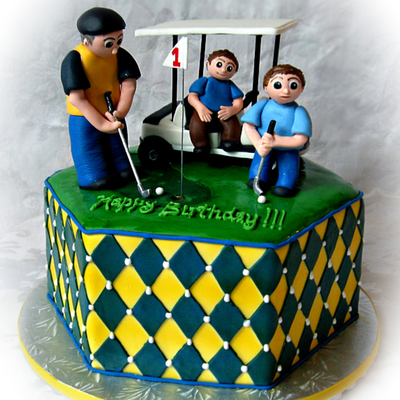 Golf Cake With Golf Cart, Daddy, And 2 Boys