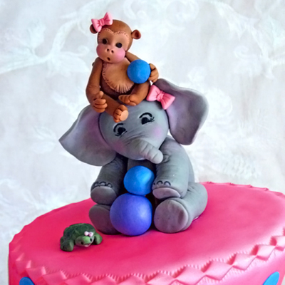 Zoo Theme Pink & Purple Birthday Cake