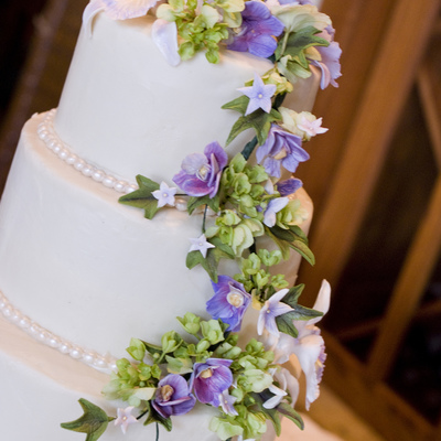 Purple Orchid Sugar Flower Wedding Cake on Cake Central