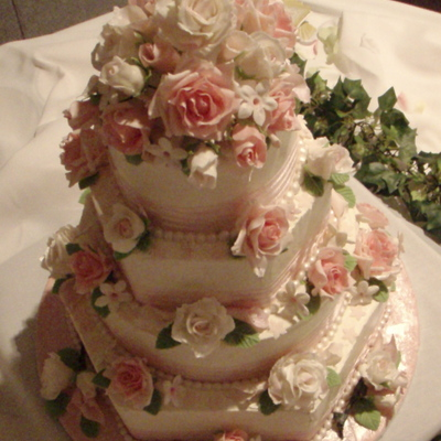 Sugar Flowers On Hex And Round Cake on Cake Central