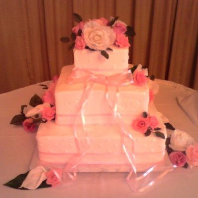 Pink Ribbon Square Cake