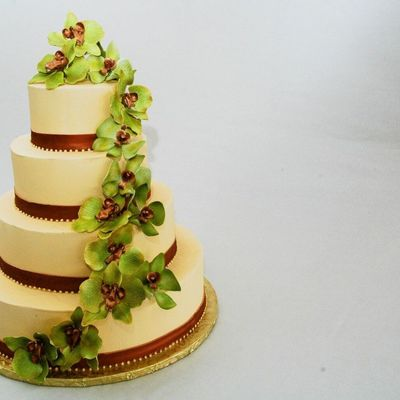 Green And Copper Orchid Cake on Cake Central