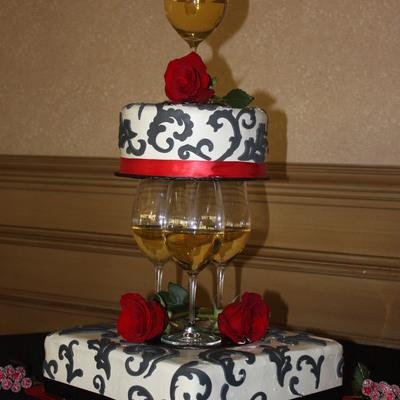 Black White Cake With Wine Glasses