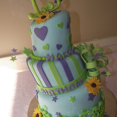 Topsy Turvy Bright Childrens Birthday Cake
