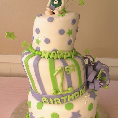 Topsy Turvy Shooting Star First Birthday Cake