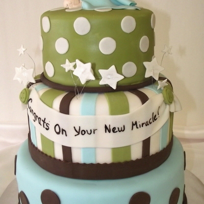 Baby Shower Cake Baby Boy Blue, Green Chocolate Brown