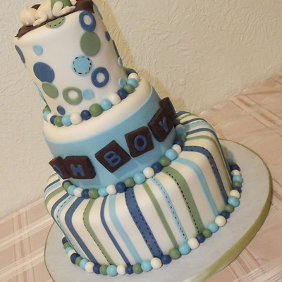 Baby Boy Baby Shower Cake, Blue, Green, White Brown