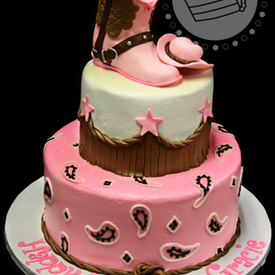 Pink & Brown Cowgirl Cake
