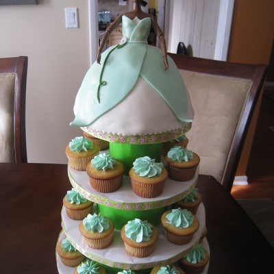 Princess Tiana Doll Cake, Cupcakes And Homemade Stand