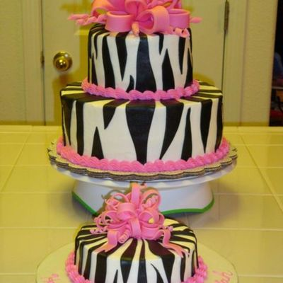 Zebra Pink Bow Cake on Cake Central