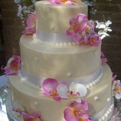 Ivory Orchid Weddign Cake on Cake Central