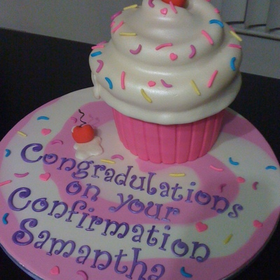 Giant Confirmation Cupcake!