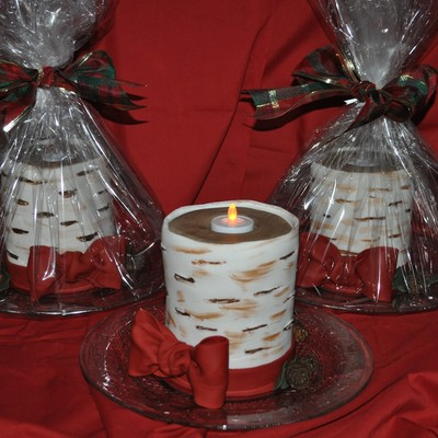 Birch Christmas Candle Cakes