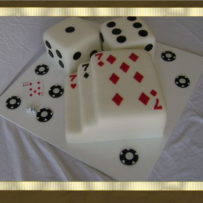 Poker Cards And Dice Cake