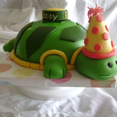 Fondant Green, Yellow, And Red Turtle Birthday Cake