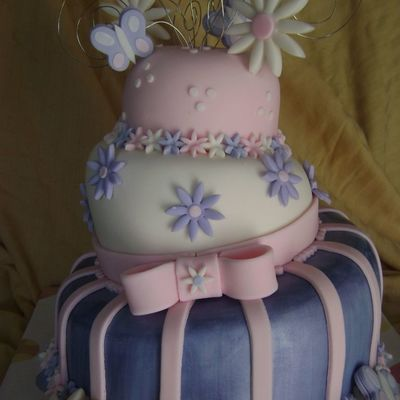 Purple, Pink, And White Fondant Whimsical Birthday Cake.