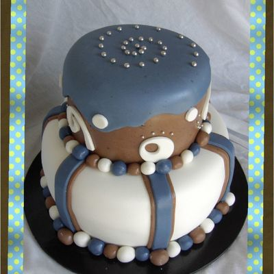 Blue Brown White Boy's Baby Shower Cake W/ Chocolate Fondant.