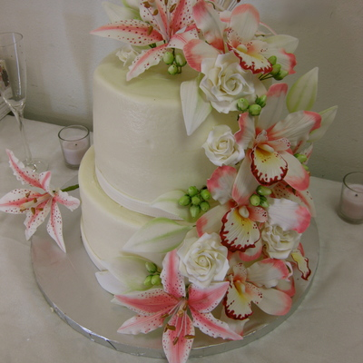 Orchid And Lily Wedding Cake on Cake Central