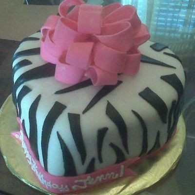 Heart Shaped Zebra Cake With Bow on Cake Central