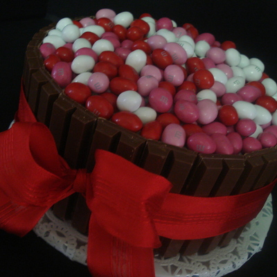 Pink Red & White Candy Barrel Cake