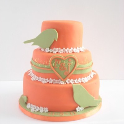 Orange And Green Wedding Cake